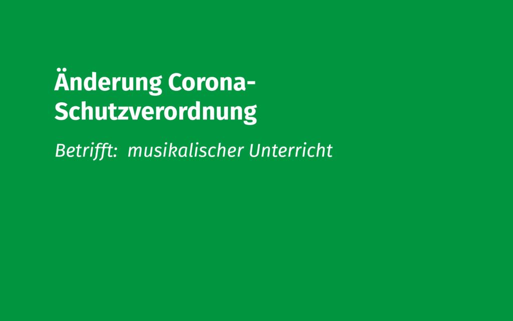 Änderung Corona Schutzverordnung musikalischer Unterricht Volksmusikerbund NRW