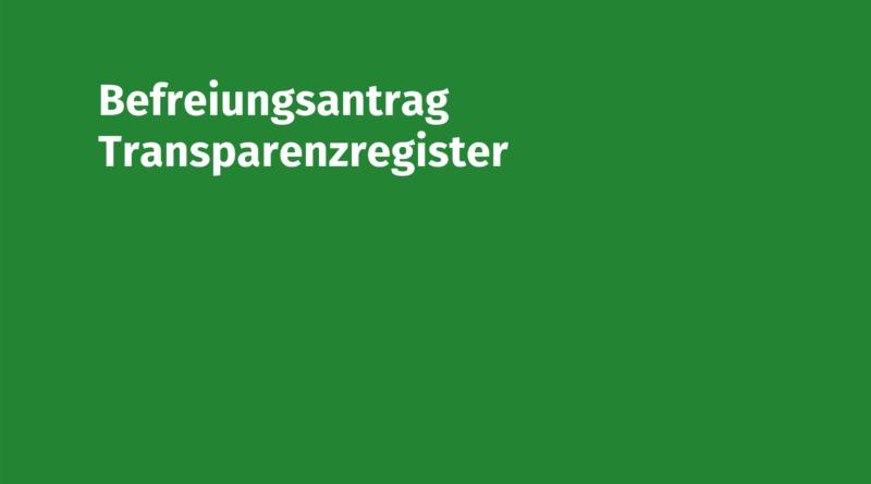 Befreiungsantrag Transparenzregister Volksmusikerbund NRW
