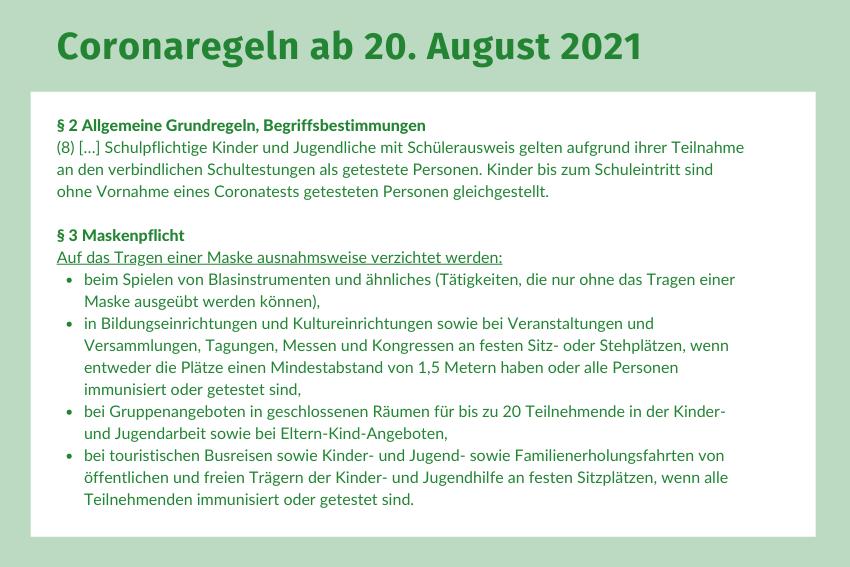 Coronaschutzverordnung 20-08-2021 Volksmusikerbund NRW